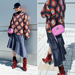 Rekay Style - Gucci Marmont Bag, Velvet Ball Cap, Zara Velvet Ankle Booties - How to style velvet