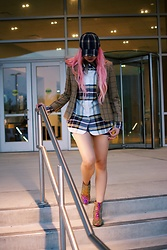 Stephanie Gold - Dolls Kill Plaid Cap, Brooks Brothers Men'S Plaid Shirt, Brooks Brothers Blazer, Custom Swarovski Volcano Boots - Still plaid obsessed