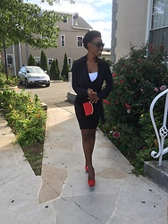 Ogadinma - Charlotte Russe Blouse, H&M Black Pencil Skirt, Charlotte Russe Red Pumps - Chic Look