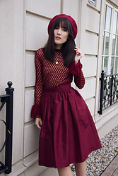 Carolina Pinglo - Sfera Polka Dot Sheer Blouse, Mendocino Flared Skirt - Red Wine