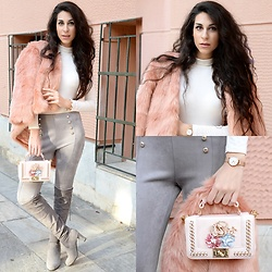 Marina Mavromati - Chic Me Faux Fur Coat, Chic Me Faux Suede Pants, Chic Me Faux Suede Boots, Daniel Wellington Classic Melrose Petite, Rosegal Flower Bead Crossbody Bag, Pinky Paradise Grey Contact Lenses - Grey, Pink & So Chic!