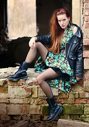 Petra Butkova - Secondhand Old School Leather Jacket, Ihlow Handmade Earrings, Vintage Flower Dress From 50s, Digger Shoes Boots - Punx