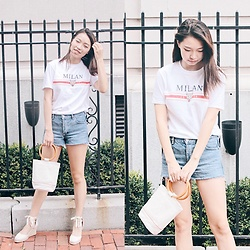 Joy Li - Topshop Milan T Shirt, &Other Stories Denim Shorts, Loeil Canvas Bucket Bag, Soludos Tall Wedge Espadrilles - Back to Basics