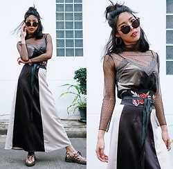 B @Style Voyage - Zaful Grid See Through Blouse, Zara Slip Dress, Greyhound Original 2 Tone Maxi Skirt, Mira Madison Cat Eye Sunglassese, Mnk Siam Embroidered Obi Belt - Edgy Oriental