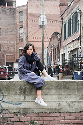 Susan Hang - Mango Duster, Axel Arigato Sneakers, Topshop Trousers - November Skies