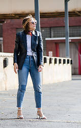 Christina N -  - Leather Blazer with Neck Scarf and Cropped Levi Jeans