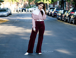 Christina N -  - Wide leg corduroy pants with sheer blouse & white boots