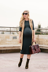 Meagan Brandon - Similar Vest, Sweater Dress, Brahmin Satchel, Sock Boots - Long Camel Vest & Bodycon Sweater Dress