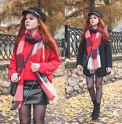 Anya Dryagina - Rosegal Lapel Neck Fitting Pea Coat, Zaful Drop Shoulder Ribbed Pullover Sweater, Zaful Asymmetric Zipper Belted Faux Leather Skirt, Rosegal Plaid Knitting Broken Hole Design Fringe Brim Scarf, Zaful Woven Rope Embellished Pinstriped Beret Hat - Lots of red