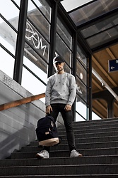 Kevin Elezaj - Reebok Sneakers, Cheap Monday Jeans, Balenciaga Sweater, Farah Cap, Eastpak Backpack - Back to school