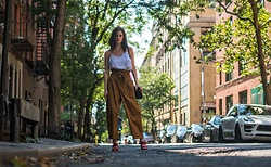 Sami Mauskopf - Express White Cami, Urban Outfitters Paper Bag Pants, Vince Camuto Red Mules - Paper Bag Pants