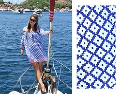Noelle Lynne - Balmain Brown Sunglasses, Sz Blockprints Blue And White Nautical Moroccan Caftan - Sailing in Les Saintes, Guadeloupe