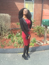 Ogadinma - H&M Burgundy Dress, H&M Tuxedo Jacket - Burgundy Hue