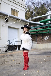 Sandy Joe Karpetz - Bailey Hats Bianco Renegade Hat, Smashbox Chill Zone Grey Lipstick, H&M Black T Shirt Dress, H&M Faux Fur Coat, Aldo Over The Knee Red Sailors Boot - A Leg Up