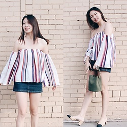 Joy Li - Forever 21 Off Shoulder Top, Who What Wear Bucket Bag, Chanel Sling Back - Almost Friday