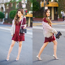 Sasa Zoe - Dress, Cardigan, Earrings, Pumps, Bag - HOLIDAY PARTY