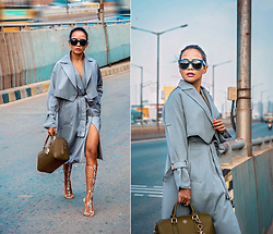 Nilu Yuleena Thapa - Chic Wish Coat Dress, Tory Burch Olive Saffiano Leather Bag, Ego Jewel Encrusted Perspex Heels, Dolce & Gabbana Teal Sunglasses - Fleeting