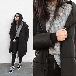 Tiffany Wang - Urban Outfitters Puffer Jacket, Vans Sneakers, Madewell Jeans, H&M Sweater, Karen Walker Sunglasses - PUFFER JACKET