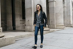 Courtney Y - Pomelo Leather Jacket, Staccato Black Flats - Leather up