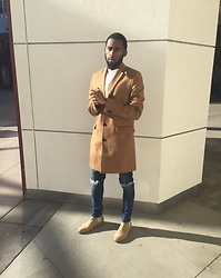 Justin Price - New Look Camel Topcoat, Asos White Longline Granddad Collar, New Look Ripped Skinny Jeans, New Republic Man Houston Suede Sand Chelsea Boots - New Look