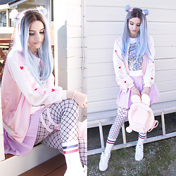 Soyeon Choi - Evahair Pastel Blue Wig, Sammydress Unicorn T Shirt, Bao Bae Hearts Bomber Jacket, Happy Monday Lilac Tennis Skirt, Cutiekill Bunny Backpack, Adidas Sneakers - Pastel blue hair