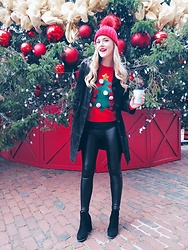 Sydney Hoffman - H&M Christmas Sweater, Loft Leather Pants - Christmas Season is HERE