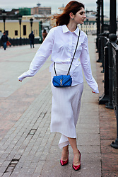 Maria Chamourlidou - Judy Green Shirt, Saint Laurent Bag, Ksenia Seraya Skirt, Saint Laurent Pumps - Total white
