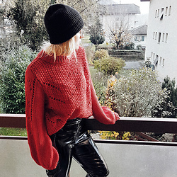 Doina M. - H&M Vinyl Pants, H&M Knitted Sweater, H&M Beanie - VINYL