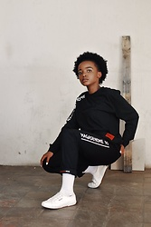 Reneilwe Masekoameng - Mamagasehome Black Script Long Sleeve T Shirt, Mamagasehome Black Project Pants, Superga White Sneakers - Pull Up