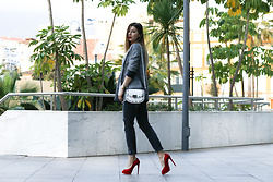 Cosmina M. //mbcos.net - Pimkie Blazer, Altramarea Shoes, Pierre Cardin Bag - Plaid blazer & red shoes