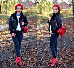 Natalia Uliasz - H&M Red Beret, Sammydress Leather Jacket, Rosegal Embroidered Sweater, Zaful Backpack, Mohito Jeansy, Deezee.Pl Red Boots - Embroidered sweater