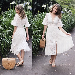 Heidi Landford - Spell Designs White Lace Dress, Ancient Greek Sandals, Cult Gaia Ark Bag - Angelic White