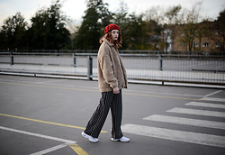 Hannah Louise - Nobodys Child Red Beret, Urban Outfitters Teddy Coat, Miss Selfridge Striped Trousers - Brown Teddy Coat