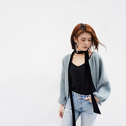 Lina Lee - Slash Dash Mink Hair Cardigan, Zara Narrow Scarf, Sly Ripped Jeans - Tender Mint