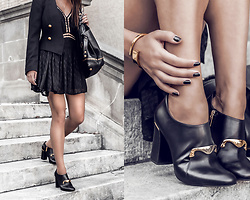 Kristina - Magali Pascal Holiday Dress, Bruno Magli Statement Gold Hardware Booties - Feminine uniform