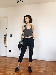 Silvia Henz - New Balance, Gap Chino Pants, Stripped, Arezzo Fringe Bag - Sporty Basic
