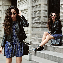 Attalia DASBEL - Zara Faux Leather Jacket, Mango Dress, Kate Spade Bag, Pull & Bear Boots - STUDS