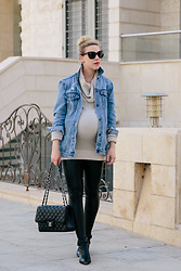 Meagan Brandon - Oversized Denim Jacket, Maternity Sweater, Maternity Leggings, Moto Boots (Now 30% Off!) - 38 Weeks Pregnancy Style
