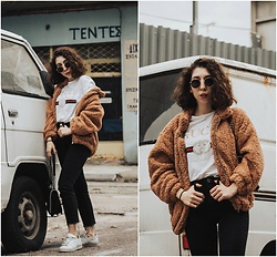 Theoni Argyropoulou - Teddy Bear Jacket, Gucci T Shirt, Asos Mom Jeans, Adidas Sneakers, Sunglasses, Zara Bag - Teddy Coat, you'll never wanna take off on somethingvogue.co