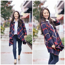 Kimberly Kong - Chicwish Plaid Coat, Aeropostale Skinny Jeans, 5/48 Animal Print Pumps - 50 Things I'm Grateful for This Thanksgiving