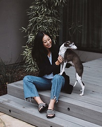 Tiffany Wang - Adidas Sandals, Reformation Jeans, Aritzia Blazer - PUPPY LOVE