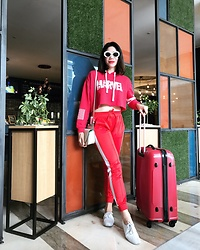 Cassey Cakes - H&M Track Pants, Mango Bag, Keds Sneakers - Airport Monochrome