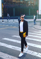 Ferch . - Ray Ban 0rb2447 Round Sunglasses, Asos Basic Cotton Tee, Diesel J De Blazer, Diesel Bacip Belt, Zara Yellow Clutch, Asos Crop Smart Pants, Lacoste Straightset 316 Sneakers - Classy in Yellow
