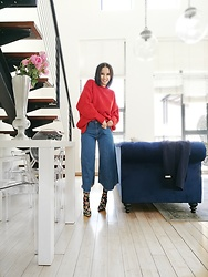 Tneale Williams - Zara Red Chunky Knit, Zara Denim Culottes, Zara Floral Sock Boots - Art deco.