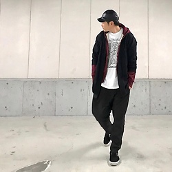 ★masaki★ - Gucci Leather Cap, H&M Wool Coat, Camber Hoodie, Joy Division Unknown Pleasure, Ch. Wide Slacks, Vans Vault - Unknown pleasure