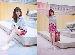 FromAmandaWithLove - Asos Grey Sweaters, Asos Pink Sequin Skirt - Grey, pink/ A super pink sequin skirt in winter