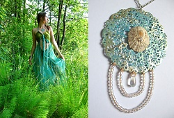 Siri Sa - Deadreator Mermaid Summer Dress, Mondlack Mermaid Necklace - Lost in the forest