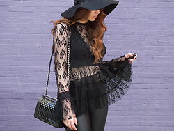 OH ANNE (BLOGGER) -  - BLACK LACE TOP & BLACK LEATHER PANTS