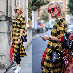 Mad Cat Fashion P. - Zara Checked Dress, Zara Earrings, Red Sunglasses, Primark Bag, Zara Faux Leather Pants - MyLook #151