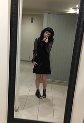 Idolsandanchors - Topshop Velvet Pinafore Dress, Motel Rocks Lace Crop Top, Topshop Leather Cut Out Peep Toe Nappa Boots, New Look Velvet Clutch - You're Not You Anymore